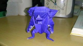 折り紙 悪魔 青